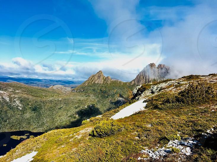 Snow mountain peak tree vegetation fern Tasmania Australia cradle lake hike walk photo