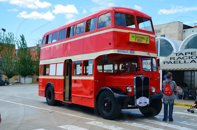 transport red bus city street wheel travel journey  photo
