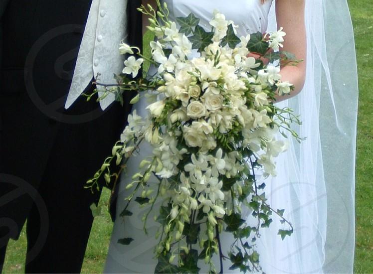 Wedding white flowers bride groom cream green church photo