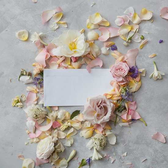 white envelope full of various flowers on a stone background . Flat lay. Love concept. photo