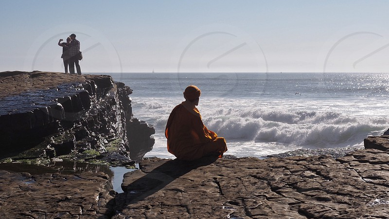 Peace and harmony... Sea Pacific Ocean North America USA California San Diego Point Loma cliffs waves selfie three persons monk buddhist monk  photo