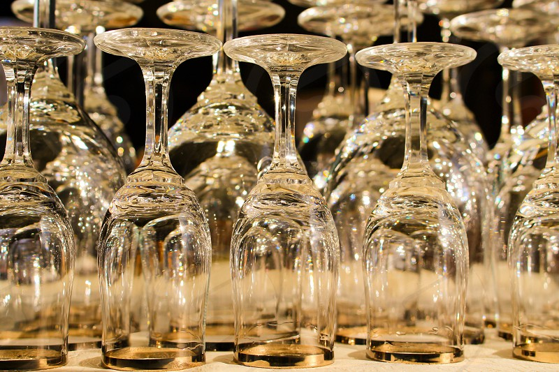 Wine glasses goblets bright reflections photo