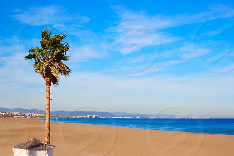 Valencia Malvarrosa beach Las Arenas in Mediterranean sea of Spain photo