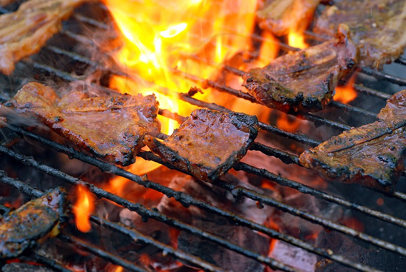 BBQ barbecue grill summer food meat fire photo