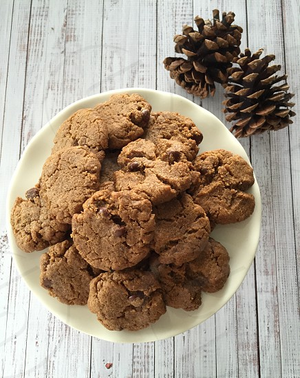 Cookies pine cones chocolate chips photo