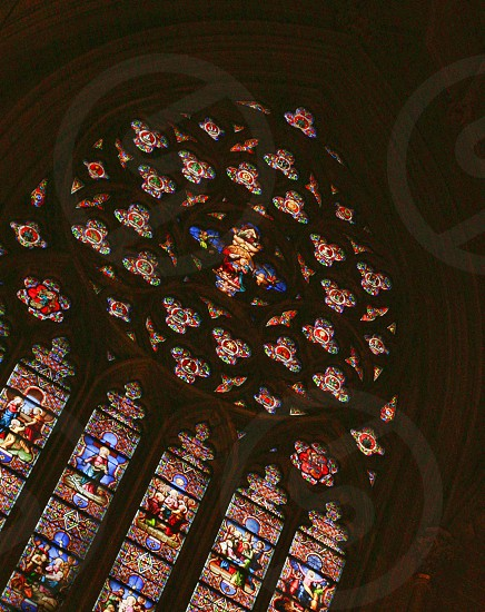 Stained glass window inside St. Patrick's Cathedral in New York City photo