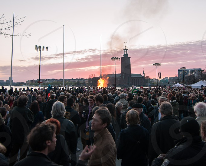 Valborg / Valpuris celebrations in Stockholm Sweden. photo