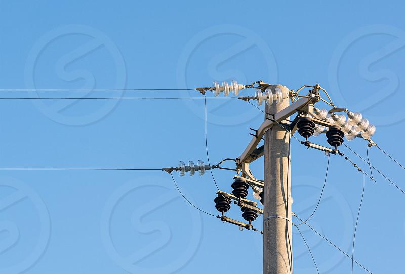 high voltage pylon. Transportation of high voltage electricity photo