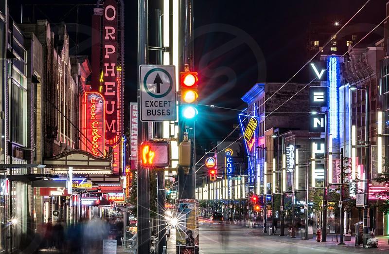 Granville street at night photo