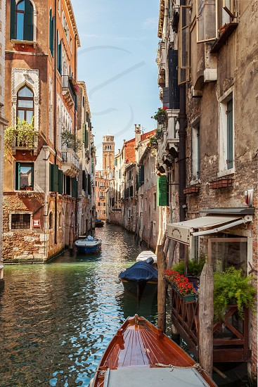 Venice Italy Grand Canal and historic tenements. Beautiful view of Grand Canal and old medival buildings. photo
