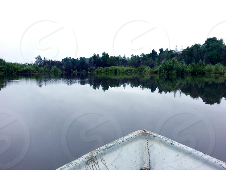 white boat on body of water near trees under gray cloudy sky during daytime photo