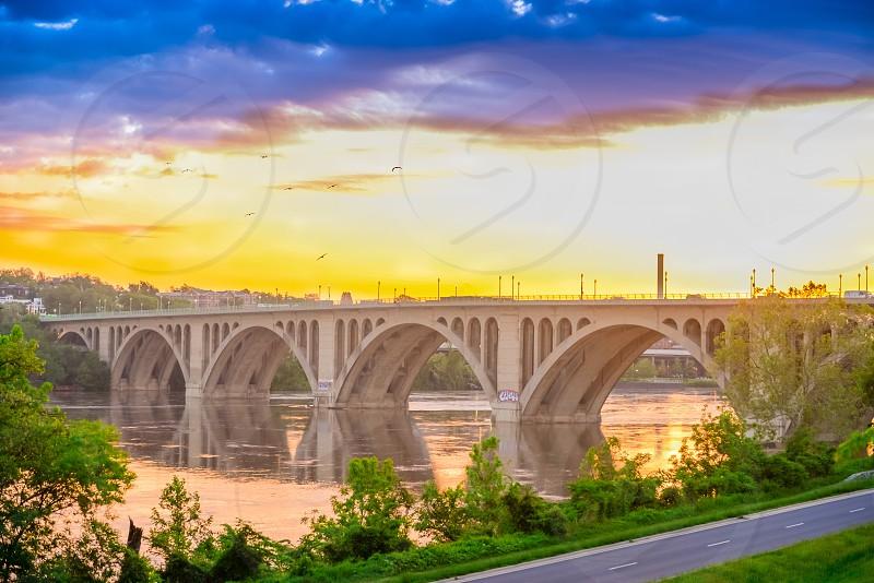 white painted concrete bridge photo