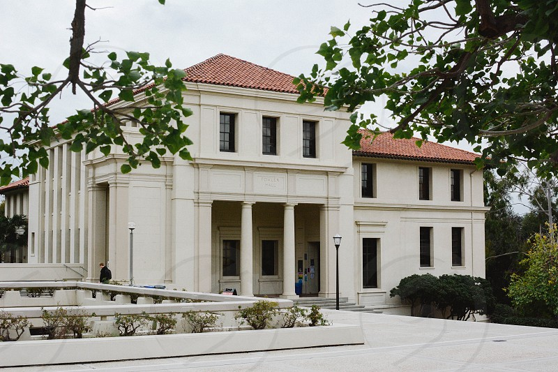 occidental college eagle rock los angeles county college campus foggy morning wide angle greek architecture  photo