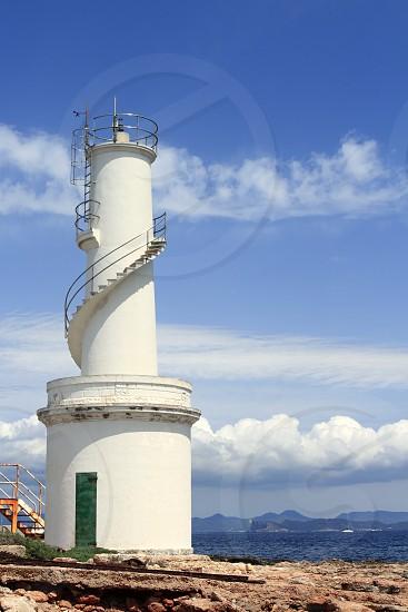 La Savina port lighthouse Formentera Ibiza view sunny mediterranean day photo
