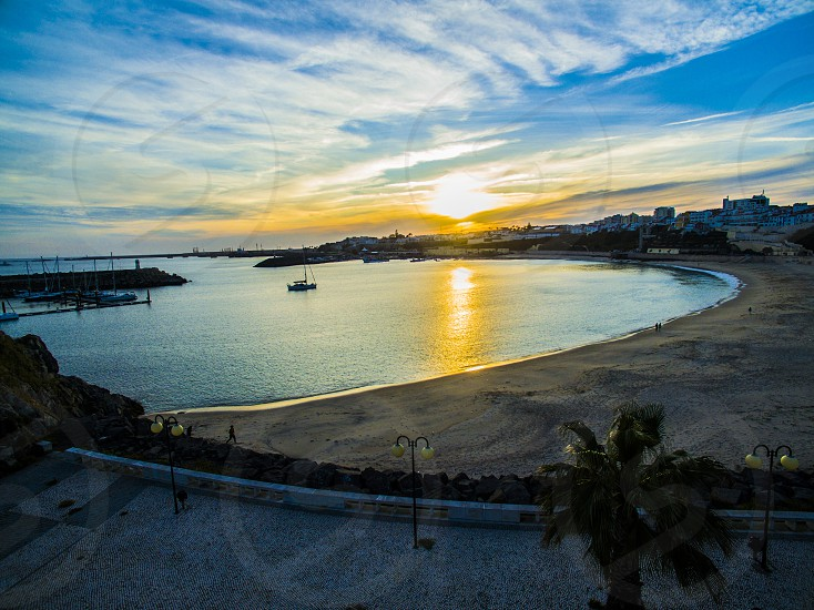 Sunset in Sines bay Portugal photo