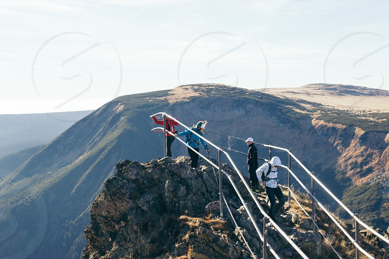 People climbing to view point at the Sniezka mountain in Karpacz photo