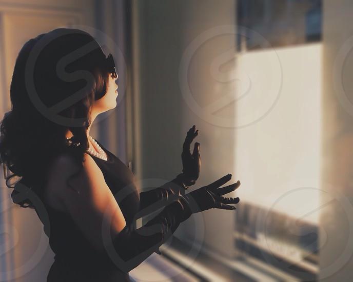 womens black satin elbow length gloves photo
