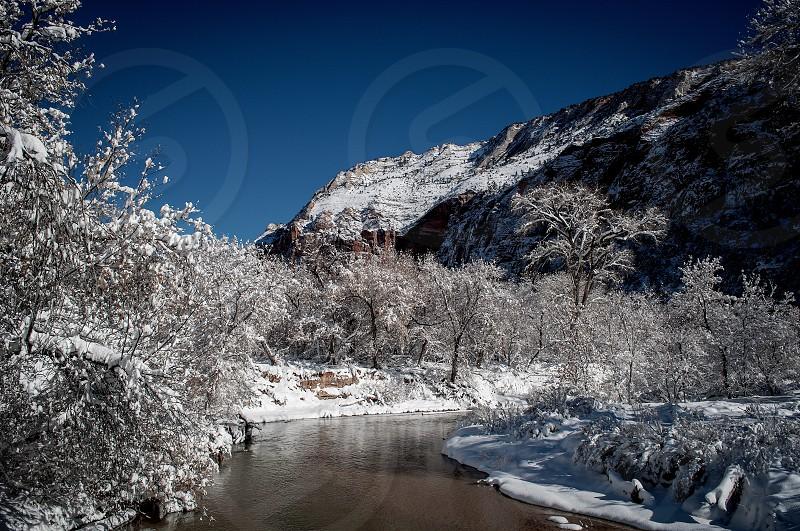 Zion Virgin River Utah Winter Snow photo