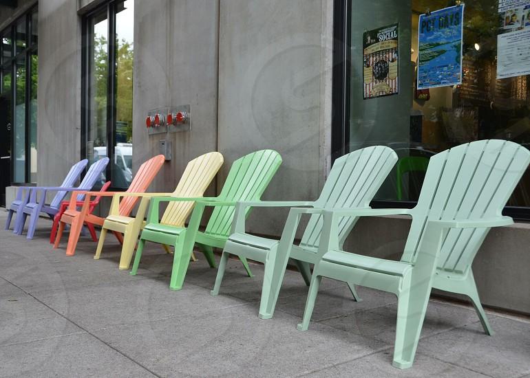 Rainbow chairs Portland Oregon  photo
