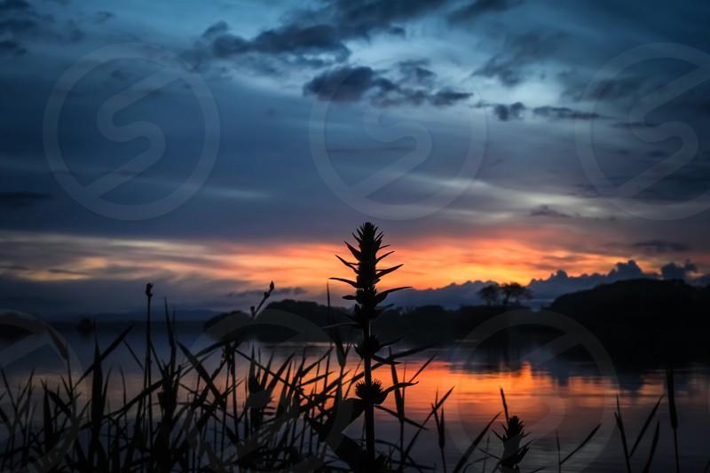 Sunset lake reflection landscape ireland Killarney park serenity scenic colourful photo