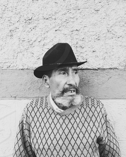 Black & White old man hat expression beard  photo