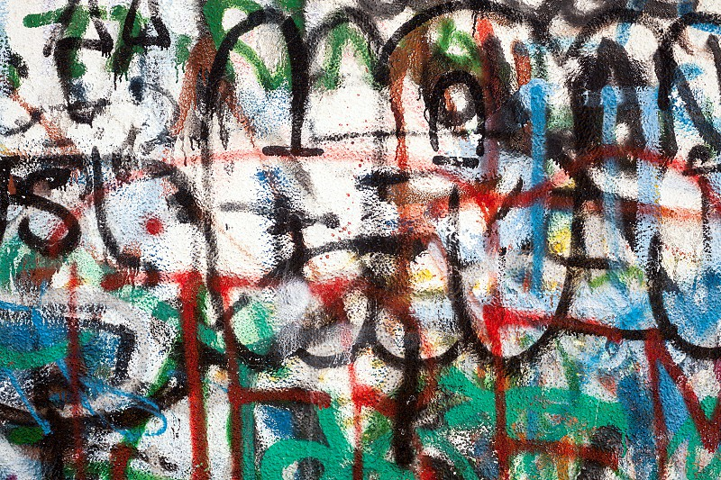 Graffiti as a wall texture colorful and chaotic.  photo