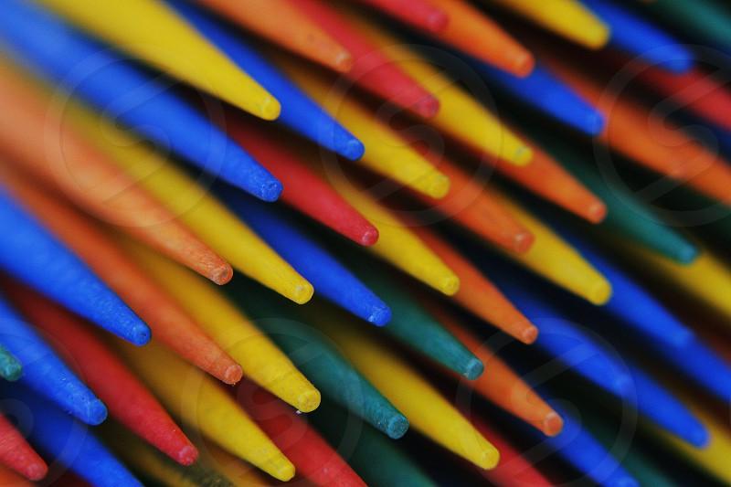 Macro photo taken of rainbow toothpicks. Canon 7D Canon fl 55mm f1.2 lens macro mounted photo