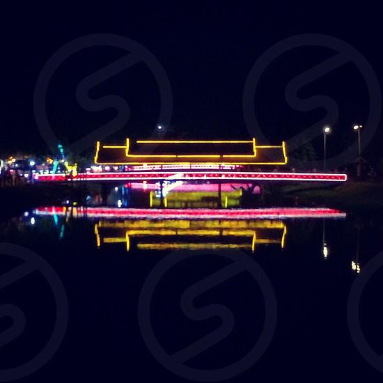 Bridge light reflection in night photo