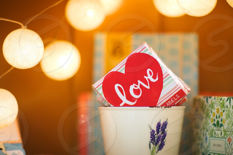 Valentine's card with heart and lights. photo