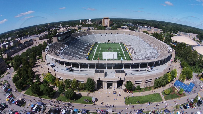 Drone photograph of Notre Dame stadium. photo