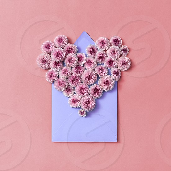 Congratulation card with flowers heart and handcraft envelope on a pastel background. Top view. photo