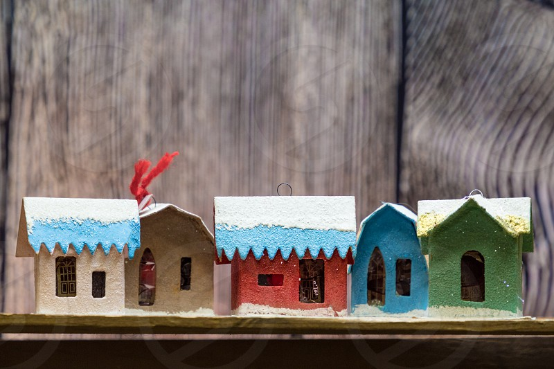Vintage Mica Cardboard Christmas Village Houses photo