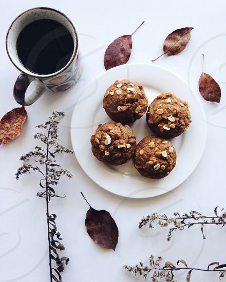 Brunch muffins November neutral white coffee nature  photo