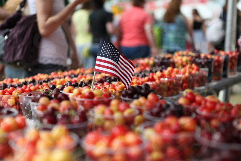 Traverse city michigan American flag cherries Fourth of July 4th photo