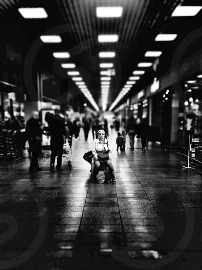 woman sitting on floor photo
