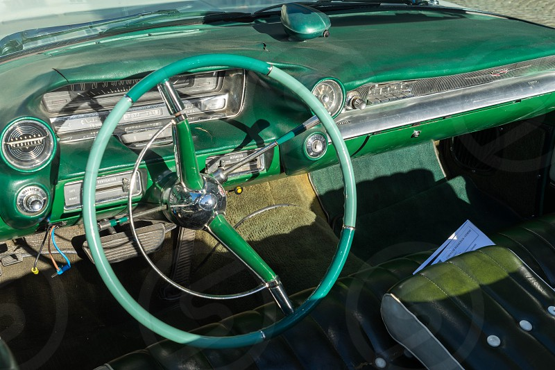 Interior of a Cadillac Wedding Car in Market Square Bruge photo