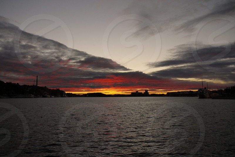 Sunset in stockholm. Dramatic sky in Stockholm photo