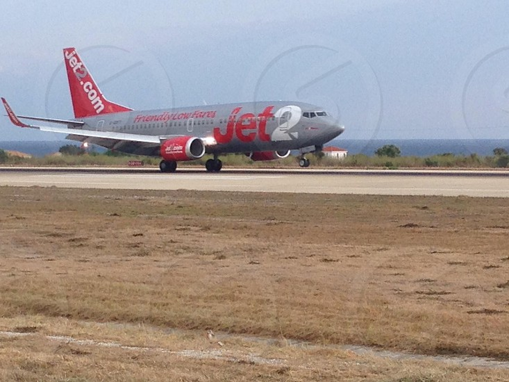 gray and red Jet2.com airlines photo