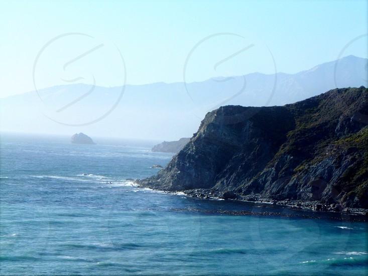 Mountains mountain range ocean sea coastal California scenery Pacific Ocean waves  photo
