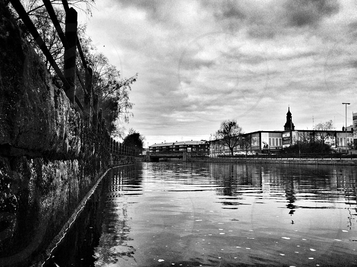 Falun falu river town water black and white Sweden  photo