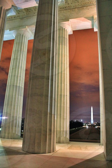 Lincoln Memorial and Washington Monument lit up at night.   photo