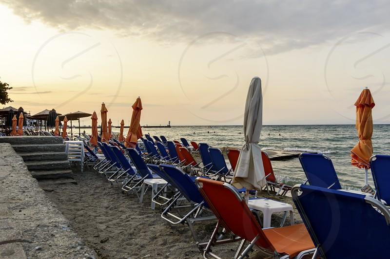 Chairs on the beach Pefkochori Chalkidiki Greece photo