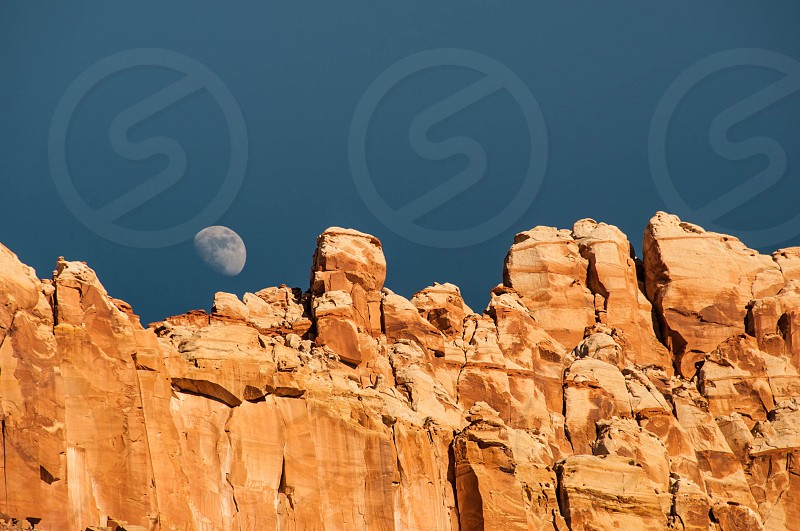 Red Rock Cliffs moon rise  photo