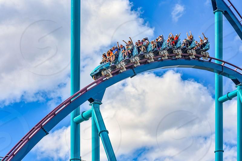 Orlando Florida. December 26 2018. People having fun extreme roller coaster ride. at Seaworld in International Drive area  (2) photo
