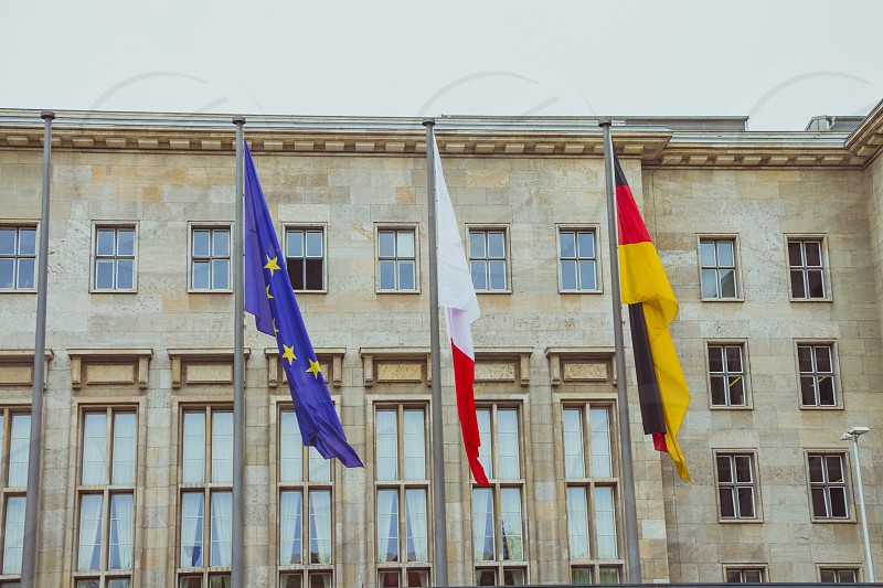 Flags in the main entrance of the Ministry of Finance of Germany. photo