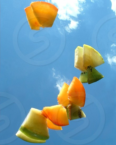 Fruit Blue Sky Flying No edit Fresh Crisp Adventure Risk Tropical Illusion Creative photo