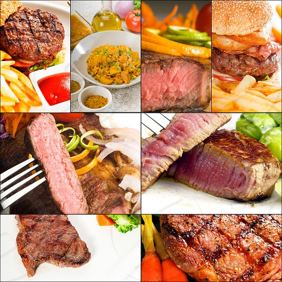 collage; composition; mosaic; frame; burger; onion ring; carrot; salad; fries; food; beef; meat; dinner; steak; meal; rare; roast; juicy; closeup; pepper; sirloin; grilled; roasted; cut; cooked; barbecue; fillet; red; tenderloin; medium; beefsteak; sliced; background; eating; bbq; cow; close-up; protein; mignon; garnish; vegetables; grill; restaurant; nobody; charbroiled; stew; barbeque; bun;  photo