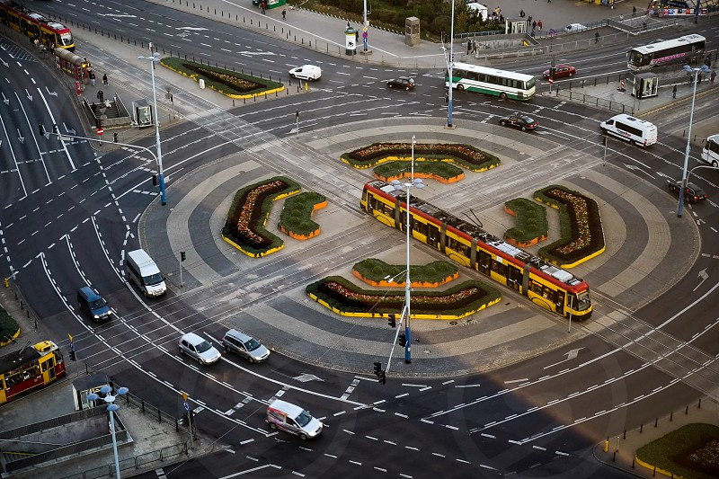 Large Roundabout on Marszalkowska Street near Centrum Tram Station in Warsaw photo