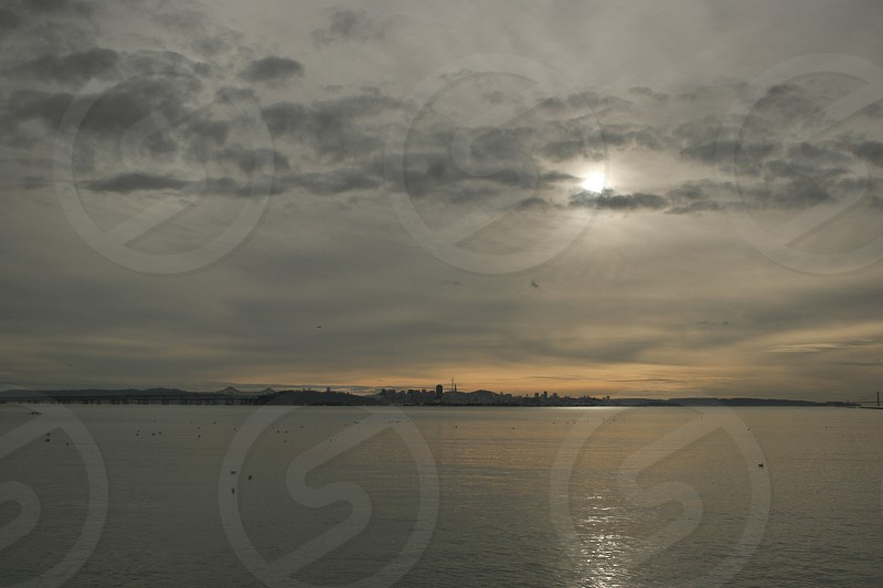 Calm Seas at San Francisco Sunset Clouds photo