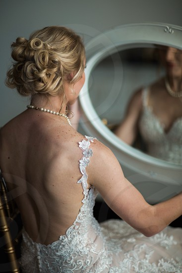 Bride mirror portrait gown studio woman photo